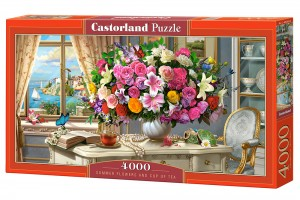 PUZZLE 4000 CASTORLAND FLOWERS AND CUP OF TEA